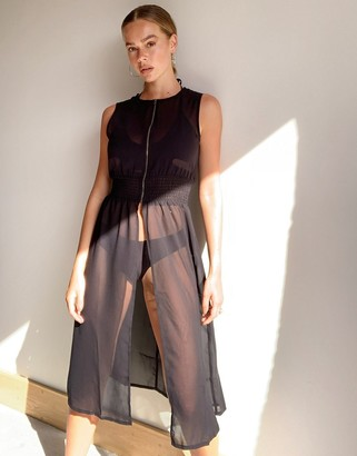 Noisy May sheer longline top with zip front in black