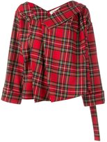 Awake asymmetric tartan jacket - women - Nylon/Wool - XS