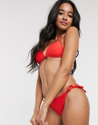 New Look basic tie side bikini bottoms in red