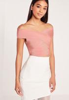 Missguided Bandage Bardot Crop Top Pink