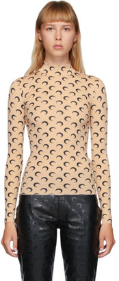 Marine Serre Beige and Black Moon Allover Turtleneck