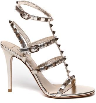 Valentino Champagne Leather Rockstud Sandals