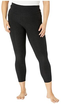 Beyond Yoga Plus Size Out Of Pocket High Waisted Spacedye Midi Leggings (Darkest Night) Women's Casual Pants