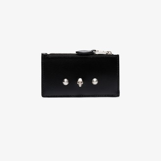 Alexander McQueen Black Skull Stud Leather Pouch