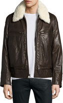 Andrew Marc Carmine Leather Bomber Jacket, Brown