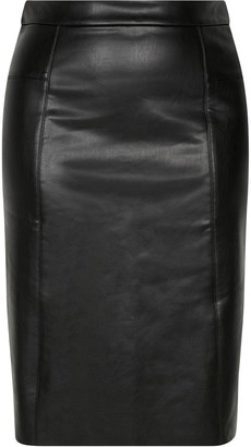 Evans Faux Leather PU Pencil Skirt - Black