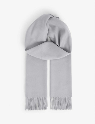 Johnstons Fringe-hem personalised wool scarf