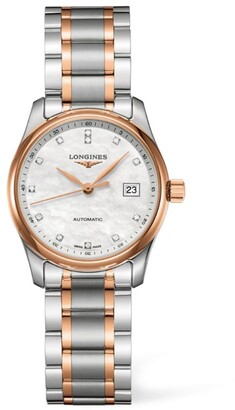 Longines Stainless Steel and Pink Gold Master Collection Watch 29mm