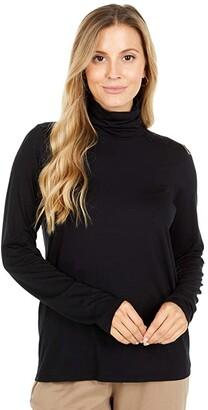 Eileen Fisher Scrunch Neck Top (Black) Women's Clothing