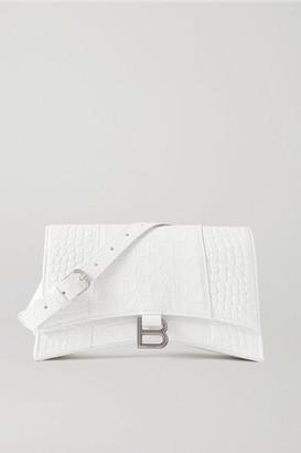 Balenciaga Hourglass Croc-effect Leather Shoulder Bag - White