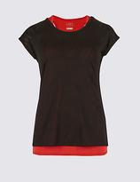 M&S Collection Burnout Print Double Layer Short Sleeve T-Shirt