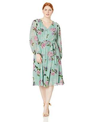 Jessica Howard Plus Size Womens Balloon Sleeve Fit and Flare Dress with Tie Sash