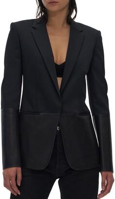 Helmut Lang Leather & Wool Blend Blazer