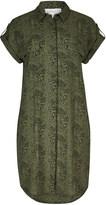 Apricot Khaki & Black Abstract Leopard Print Shirt Dress