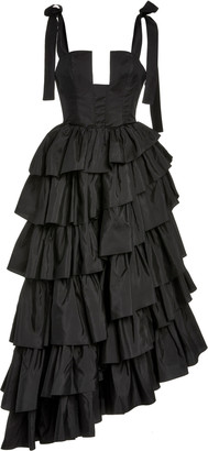 Ulla Johnson Valentina Tiered Ruffle Satin Gown