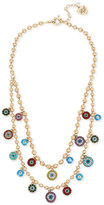 Betsey Johnson Gold-Tone Multi-Charm Double Layer Necklace