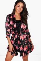 boohoo Lauren Dark Floral Robe