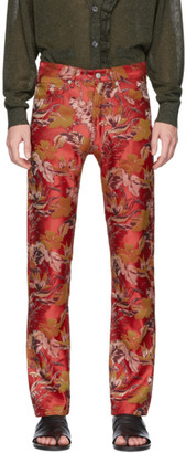 Dries Van Noten Red Jacquard Floral Jeans