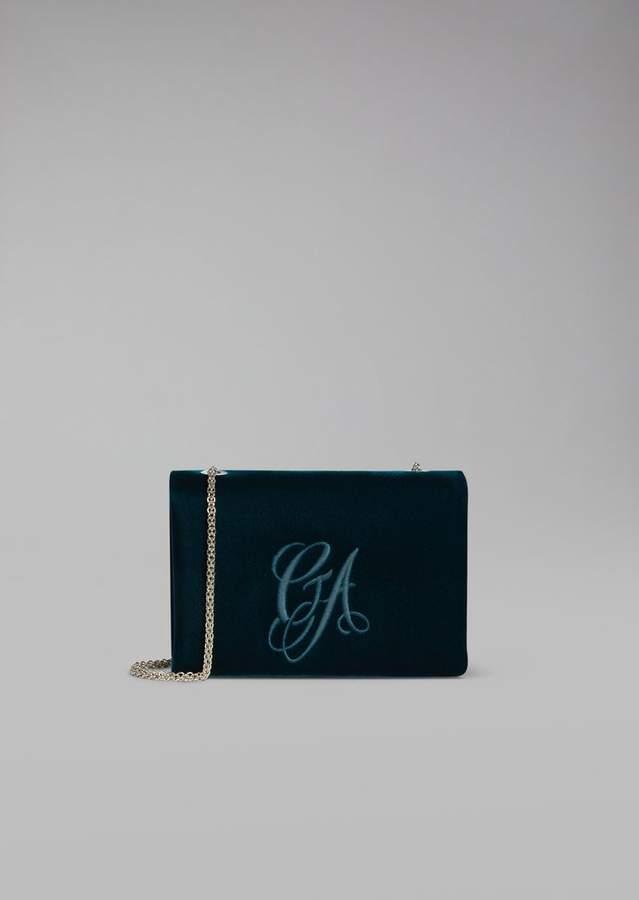 Giorgio Armani Velvet Crossbody Bag With Embroidered Logo