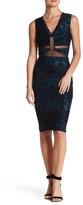Trixxi V-Neck Velvet Jacquard Print Midi Dress