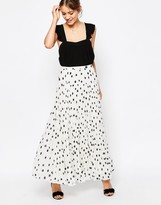 Asos Pleated Maxi Skirt in Polka Dot