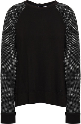 DKNY Melange Paneled Stretch-mesh And French Terry Top