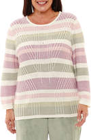 Alfred Dunner Winter Garden Texture Biadere Pullover Sweater-Plus