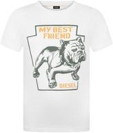 Diesel Boys White Bulldog Print Tripik Top
