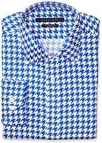 Sean John Men's Regular Fit Houndstooth Print Spread Collar Dress Shirt