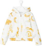 Young Versace - zip-up hooded sweatshirt - kids - Cotton/Polyester/Spandex/Elastane - 5 yrs