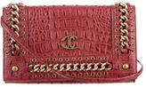 Just Cavalli Embossed Leather Crossbody Bag