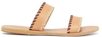 Ancient Greek Sandals Melia Whipstitched Leather Slides - Tan