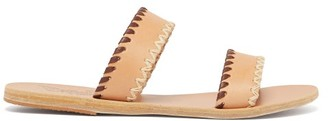 Ancient Greek Sandals Melia Whipstitched Leather Slides - Womens - Tan