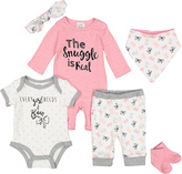 Baby Essentials Pink & White 'Snuggle' Playsuit Set - Infant