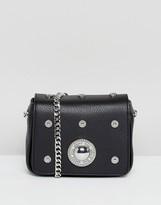Versace All Over Circular Stud Crossbody Bag