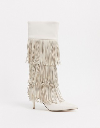 Jeffrey Campbell Frolik fringed heeled boot in white