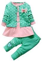 JELEUON Baby Toddler Kids Girls Cute Princess Coat+T shirt+Pants Outfits 3Pcs Set (6-12Months, )