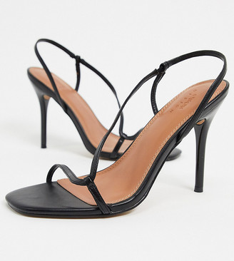 ASOS DESIGN Wide Fit Nevada strappy heeled sandals in black