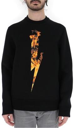 Neil Barrett Lightning Flame Logo Print Crewneck Pullover