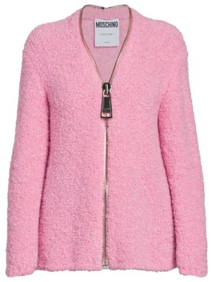 Moschino Oversized Zip Fuzzy Cardigan