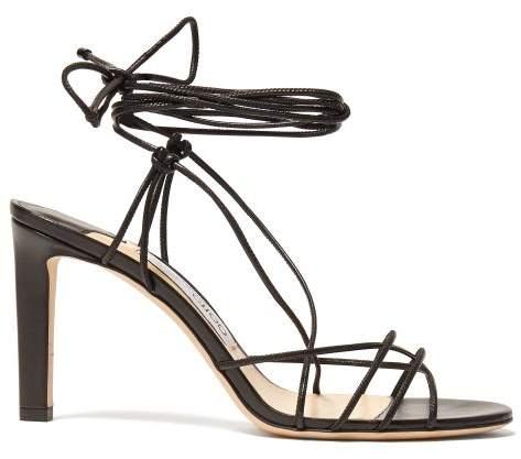 Jimmy Choo Tao 85 Wrap Around Leather Sandals - Womens - Black