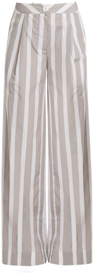 Thierry Colson Lou Lou wide-leg striped cotton trousers