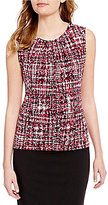 Calvin Klein Petites Abstract Plaid Print Pleat Neck Matte Jersey Shell