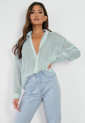 Missguided Sage Semi Sheer Extreme Oversized Shirt