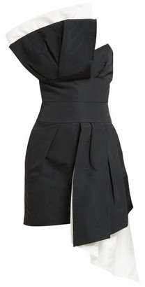 Alexandre Vauthier Pleated-panel Bustier Faille Mini Dress - Black White