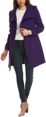 Trina Turk Funnel Neck Wool-Blend Coat