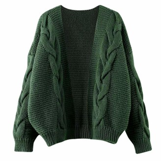 HEFYBA Womens Warm Knit Sweater Cardigans Pullover Outwear Open Front Long Sleeve Chunky Cable Knit Long Cardigans Sweater Green