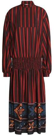 Stella Jean Gathered Striped Crepe Maxi Dress