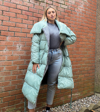 Native Youth Plus oversized longline puffer coat with belt and collar detail