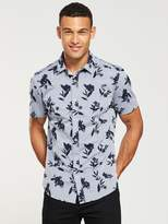 V by Very Slim Fit Short Sleeved Chambray Floral Shirt